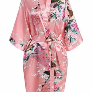 Other - Silk robe- pink with peacock print